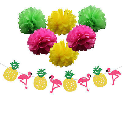 Paper flower Flamingo Pineapple leaves Banner Party Decoration Wedding Birthday  (Decorative Pineapple)