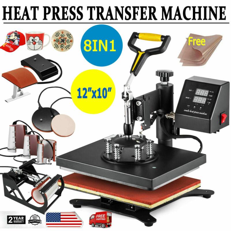 8 in 1 Digital T-Shirt Heat Press Machine Combo Sublimation Transfer Printer DIY