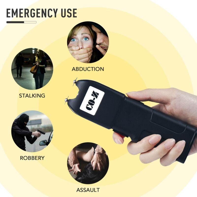 Rechargeable Stun Gun Taser Self Defense Electric Zapper W Protective Side Plate - $18.99