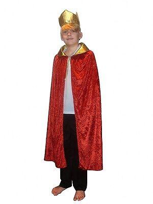 Kings Crown Kostüme (RED CAPE CROWN WISE MAN KING QUEEN CLOAK CHILDRENS FANCY DRESS COSTUME NATIVITY)