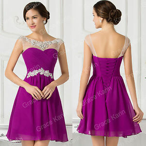 PRINCESS Girls Beads Prom Party Short Homecoming Dresses Bridesmaid Evening Gown