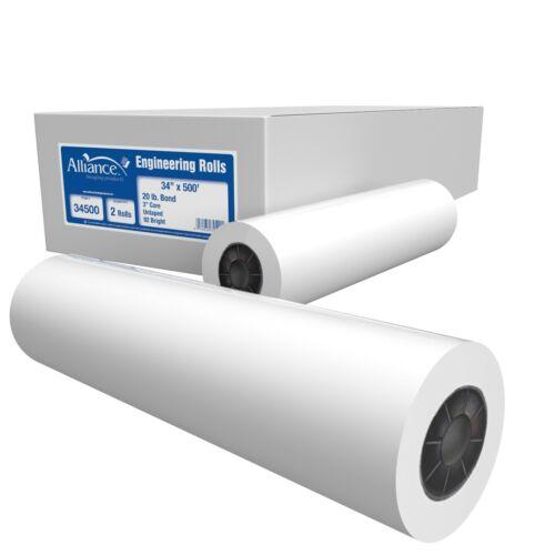 """Alliance Paper Rolls, Bond Engineering, 34""""x500'x3"""", 92 Bright, 20lb. 2 Rls/Ctn"""