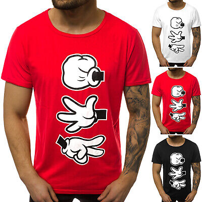 T-Shirt Kurzarm U-Neck Shirt Slim Fit Mit Aufdruck OZONEE JS/KS1997 Herren