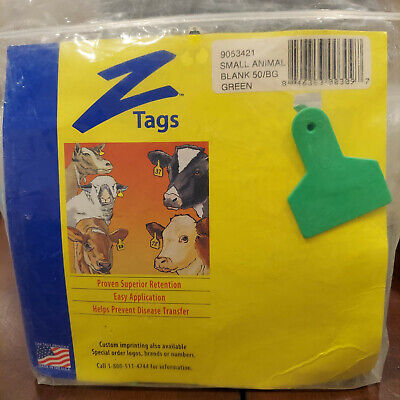 Z Tag Small Animal Blank Ear Tags Green 50 Count