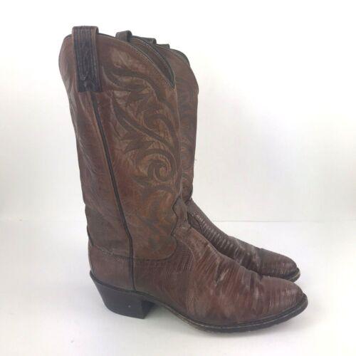 DAN, POST, Vtg, Brown, Leather, Lizard, Skin, Pull, On, Cowboy, Western, Boots, Mens, 8.5, D,