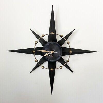 Vintage MCM Spartus Atomic Starburst Sunburst Wall Clock Mid Century Modern Wind