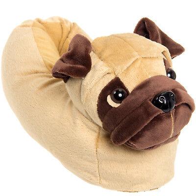 Silver Lilly Pug Dog Novelty Plush Animal Costume Slippers