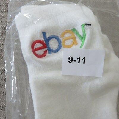 eBay Ankle Socks 1 Pair Pack Size 9 -11 White with Multi Color Logo Unisex NIP