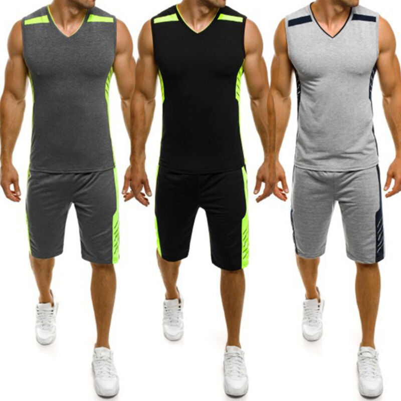 Men Sleeveless Tracksuit Vest T Shirt Shorts Pants Jogger Gy