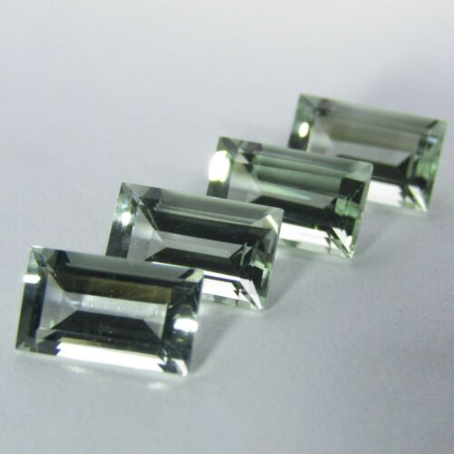 8.06Cts Natural Green Amethyst (prasiolite) Baguette Cut Loose Gems 4PCS REF VDO
