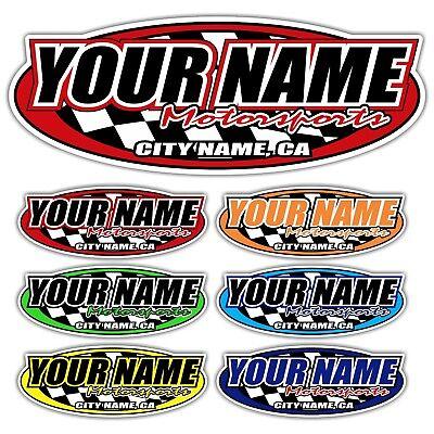 Custom Motorsports (Custom Your Name Motorsports Decals Trailer Truck MX ATV Race Car Go Kart Sprint )