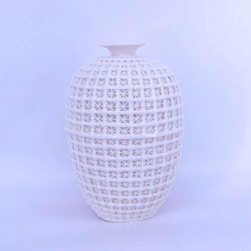 Chinese Dehua Porcelain Vase White glaze Hollow Woven Basket Weave Bottle