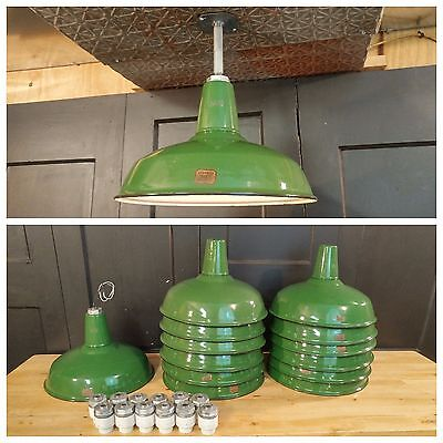 "VTG Green Porcelain Enamel Barn Light Fixture by Goodrich 16"" REWIRED Industrial"