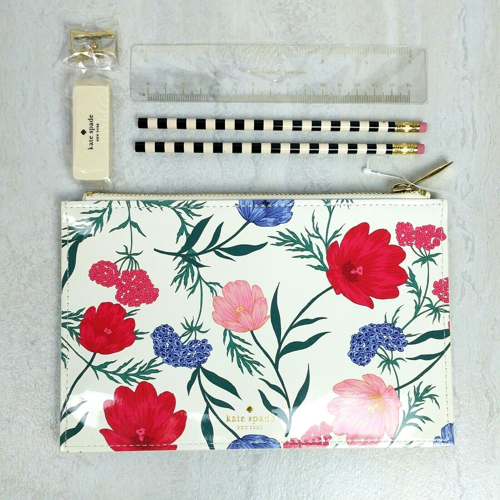NEW Kate Spade New York Blossom Pencil Pouch Case Floral Flower Pink Red Ruler - $29.99