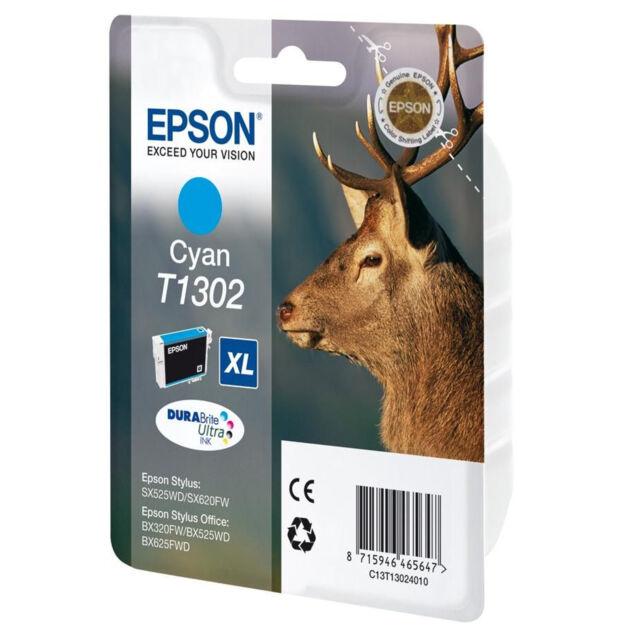 GENUINE EPSON STAG SERIES CYAN HIGH CAPACITY XL INK CARTRIDGE C13T13024010 T1302