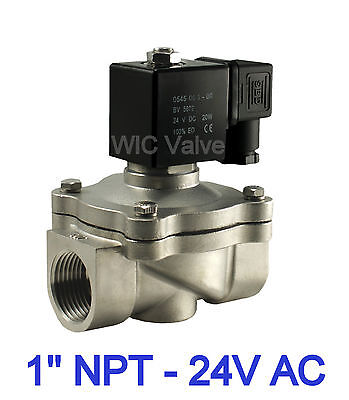 1 Inch Stainless Air Water Electric Zero Differential Solenoid Valve Nc 24v Ac