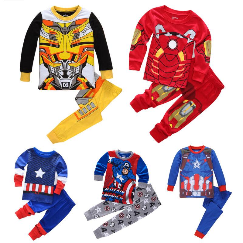 Jungen Kinder Superheld Schlafanzug Pyjama Nachtwäsche Hausanzug Kleidung Sets