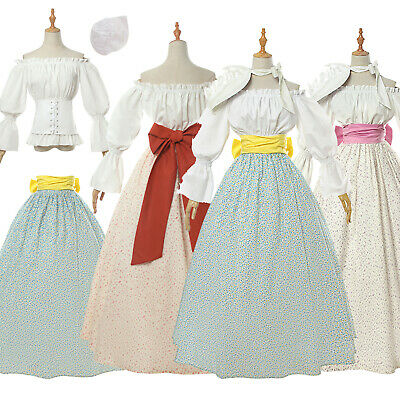 Renaissance Floral Dress with Hat Top Skirt Belt Women Retro Party Gown Dress