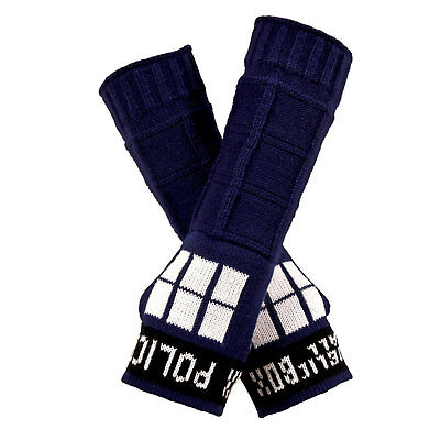 Adult Doctor Who BBC TARDIS Police Call Box Cosplay Costume Arm Warmers Gloves  (Doctor Who Tardis Costume)