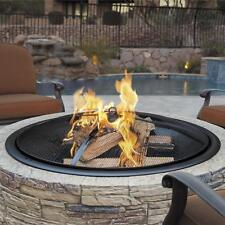 Sun Joe 35-Inch Cast Stone Base Fire Pit w/Dome Screen and Poker, Natural Stone