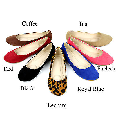Leather Ballet Flat Shoes (New Womens Cute Casual Comfort Slip On Round Toe Ballet Suede Leather Flat)