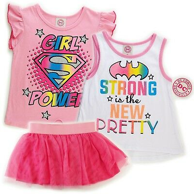 3 Piece Scooter - DC Comics Youth Girls 3 Piece Scooter Set 2 Shirts 1 Lace Skirt NWT
