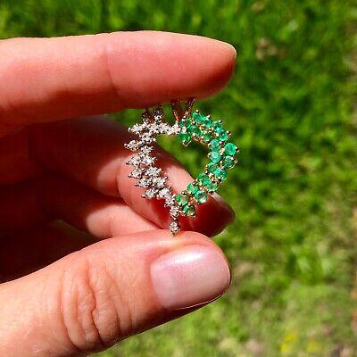 Beautiful Large Diamond Emerald Heart Love Pendant 14K Yellow Gold ()