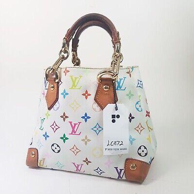 Auth Louis Vuitton Audra Monogram Multicolor Blanc M40047 Guaranteed Bag LC872