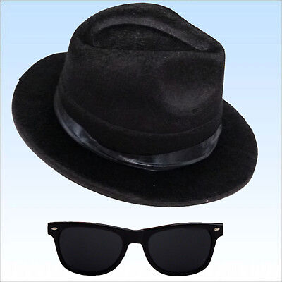 Blues Brothers Set Hut und Brille Kostümset f. Fasching Kostüm Brother - Blues Brothers Kostüm Hut