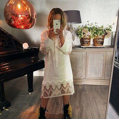 Burberry Prorsum White Cotton Lace Dress Size 10