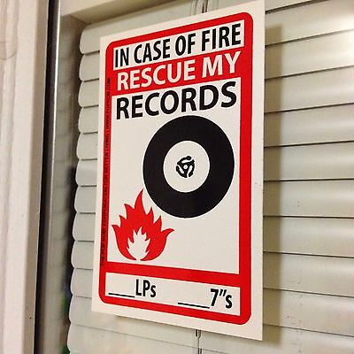 """Home Decoration - In Case Of Fire RESCUE MY RECORDS Sticker Vinyl Decal LP DJ 45 7"""" Rsd Store Day"""