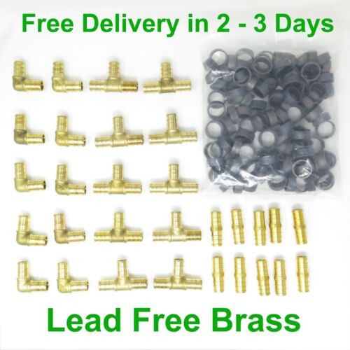 "(130 PCS) 1/2"" PEX CRIMP FITTINGS WITH COPPER CRIMP RINGS, LEAD FREE BRASS PEX"