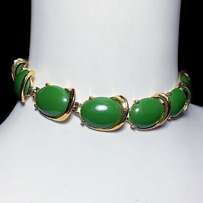 60s -70s Jewelry – Necklaces, Earrings, Rings, Bracelets Vintage 1960s Green Gold Tone Thermoset Plastic Adjustable Choker Necklace 60s $24.54 AT vintagedancer.com