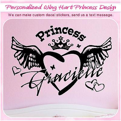 Custom Princess Heart Wing Love Sign Art Vinyl Home Decor Wall Sticker Decal 123