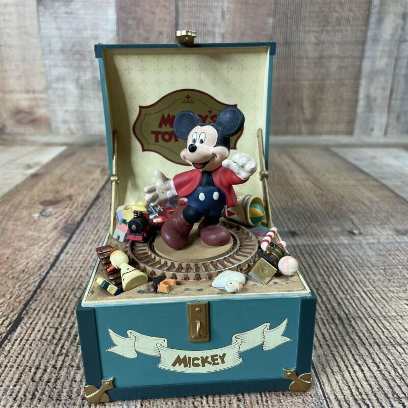 Vintage Disney Schmid Mickey's Toy Chest Hand Painted Music Box Minnie Mouse