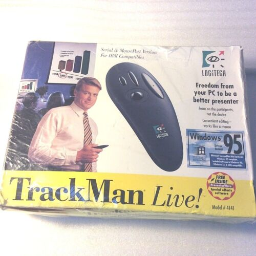 1995 Logitech TrackMan Live 4141 Remote Control Receiver Pointer Old Stock NEW