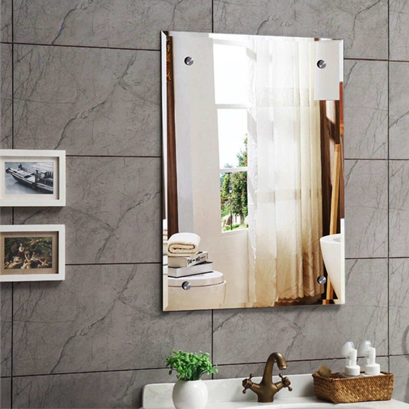 Frameless Bathroom Mirror with Pre Drilled Holes &Chrome ...