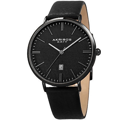 Men's Akribos XXIV AK935BK Matte Black Embossed Grid Dial Design Strap Watch