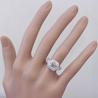 GIA I-VS2 18k White Gold Asscher Cut Diamond Bezel Engagement Ring Deco 3.30ctw 3