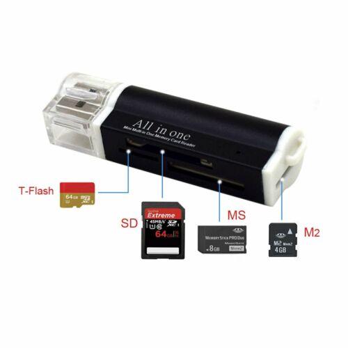 Kartenlesegerät USB 2.0 Kartenleser Card Reader Micro SD MMC M2 Adapter Schwarz