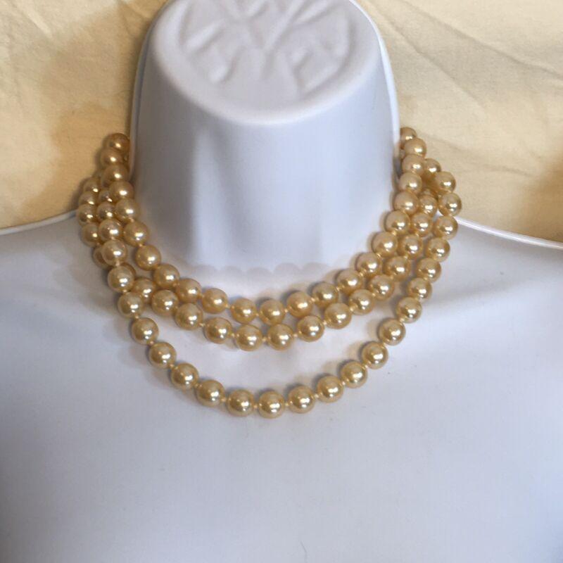 Kenneth Jay Lane Triple Strand Faux Golden Pearl Necklace KJL Iconic Pearls