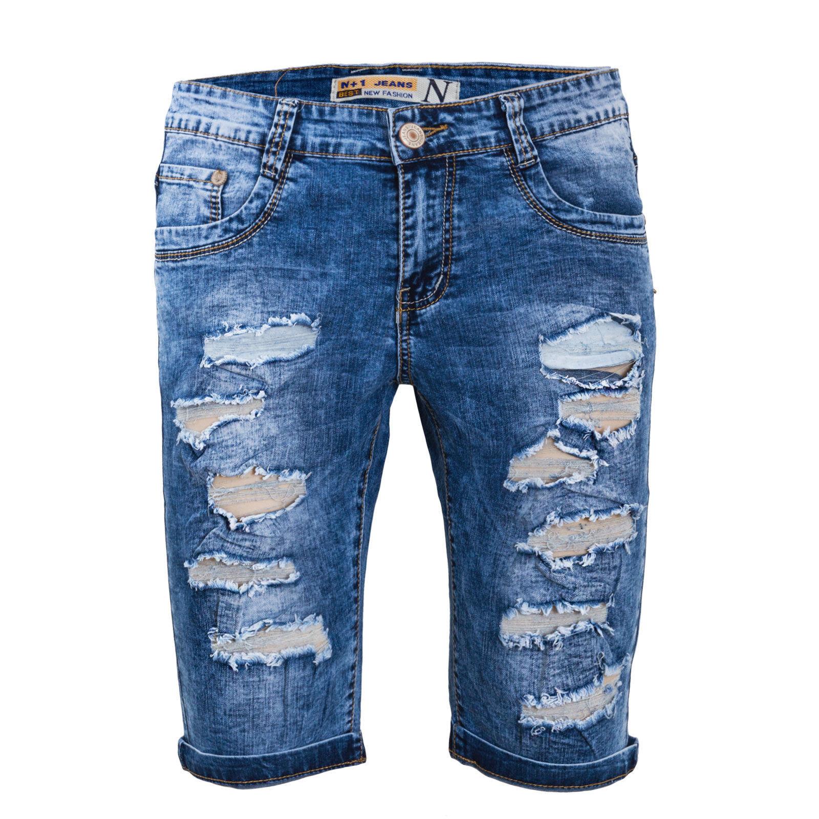 Bermuda homme jeans court en jeans déchiré short avec des larmes ... a94fe829ec6