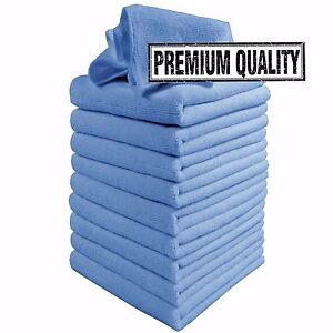 Microfibre Cloths 10 Pack Blue Microfiber Large Washable Cleaning Cloth