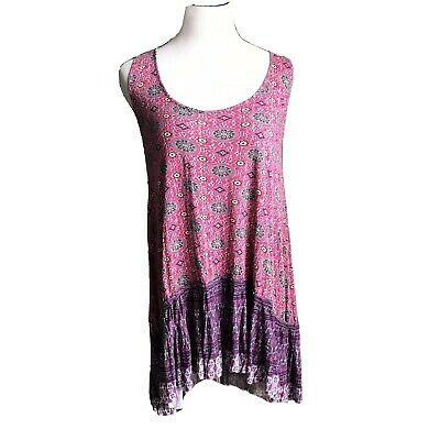 Free People FP One Dress Slip Floral Printed Ruffle Large Mesh Pink tunic Top