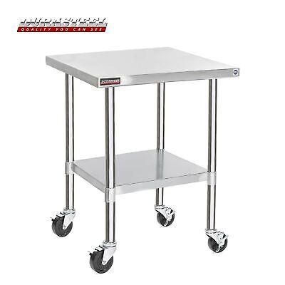 Durasteel Stainless Steel Work Table 30 X 30 X 34 Height W 4 Caster Wheel...