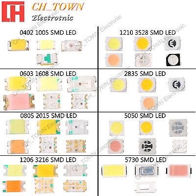 100pcs SMD 0402 0603 0805 1206 3528 2835 5050 5730 LED Diodes White RGB Light