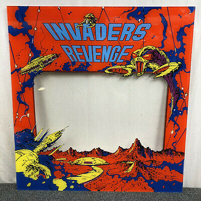 Americade Invaders Revenge Space Video Game Machine Backglass Screen Bezel