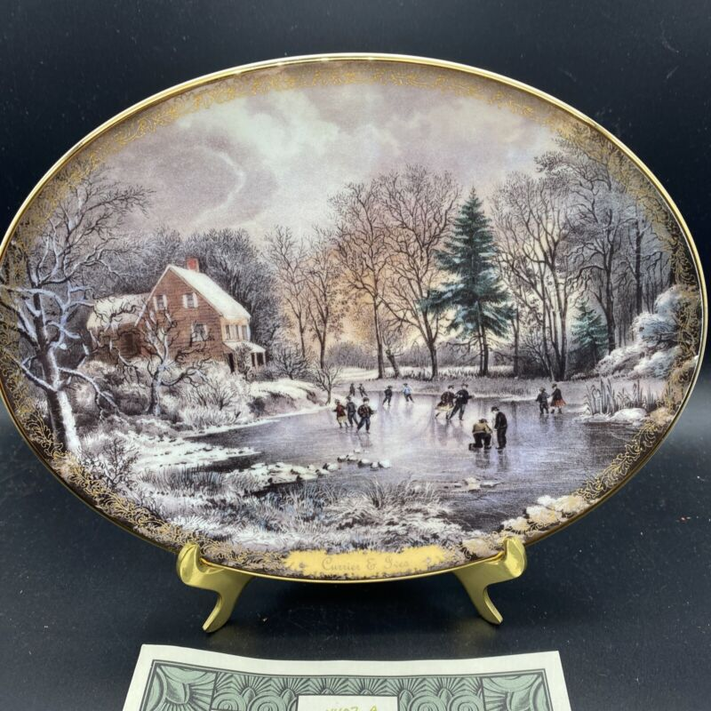 Currier & Ives Christmas Early Winter Plate Oval plate  Bradford Ex