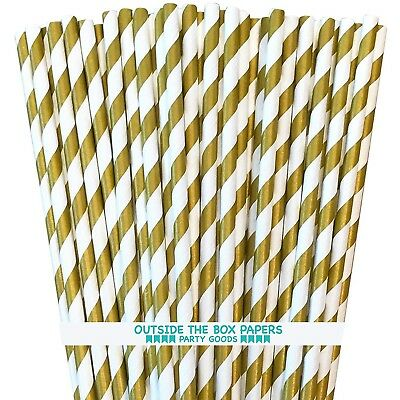 Striped Paper Straws - Gold White - 7.75 In - 100 Pack- Outside the Box Papers - White Straws