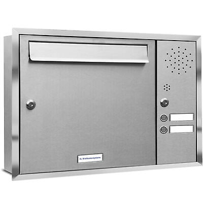 1 er Premium Edelstahl Briefkasten Anlage Unterputz  Klingel Fach A4 Postkasten